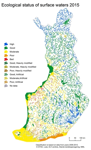 Ecological status of Finnish waters 2015