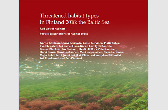The cover of the report Threatened habitat types in Finland 2018.